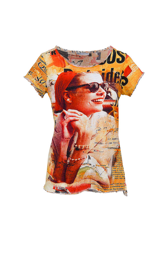 Printed Artwork Red Multicolor Graphic Print Scoop T-Shirt