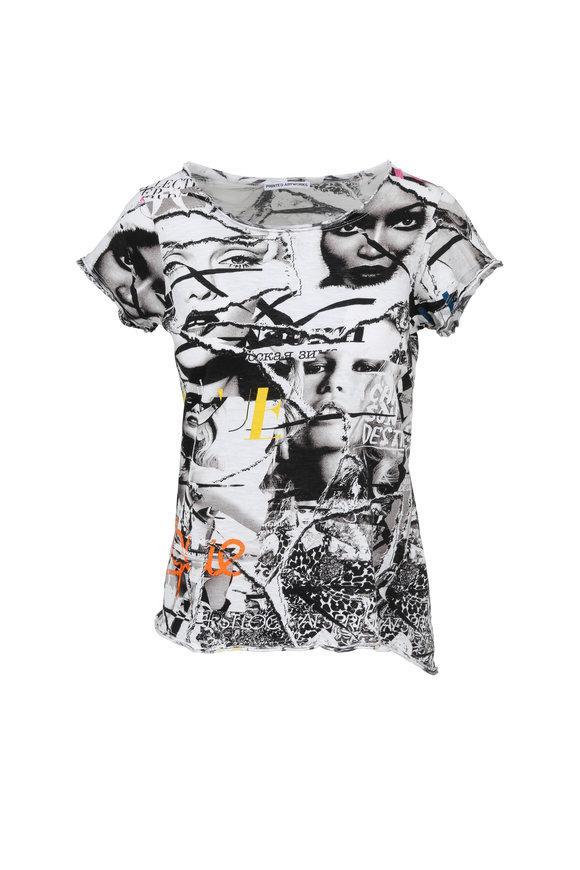 Printed Artwork Black Multicolor Graphic Print Scoop Neck T-Shirt