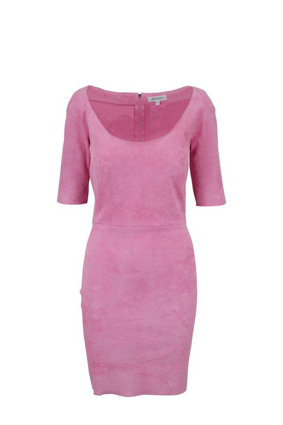 Jitrois Millennial Rose Suede U-Neck Dress