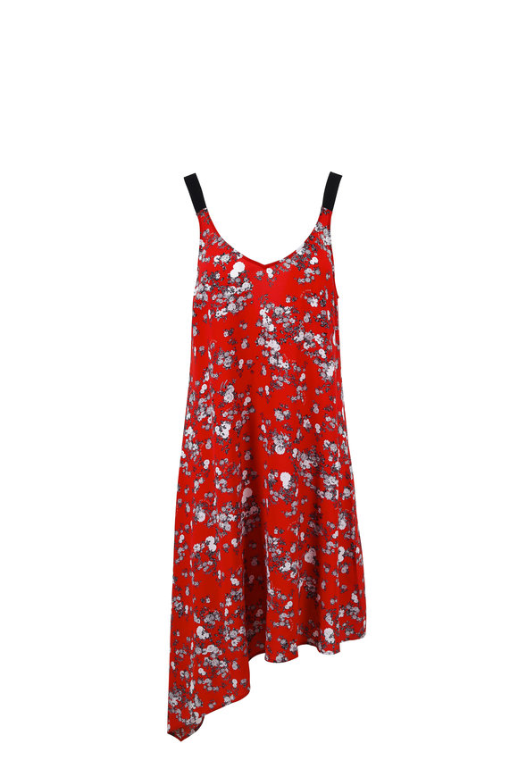 Rag & Bone Zoe Red Floral Print Silk Cami Dress