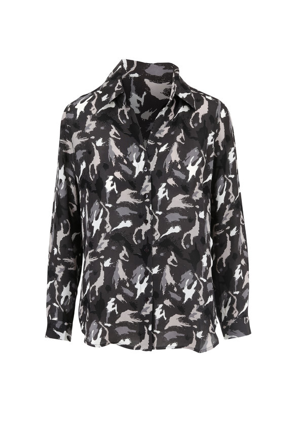 L'Agence Nina Gray Camo Printed Silk Blouse