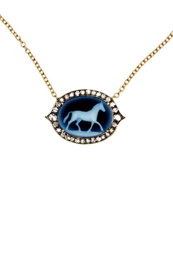 Sylva & Cie 18K Yellow Gold & Onyx Cameo Horse Pendant