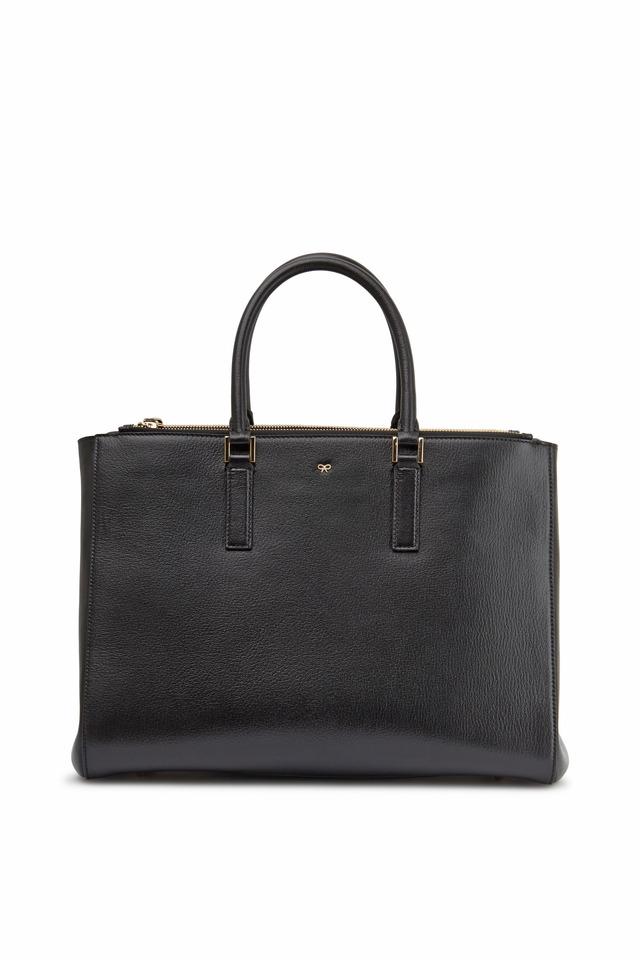 Soft Ebury Black Leather Large Satchel