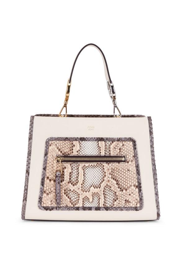 Fendi Runaway Camellia Leather & Python Small Bag