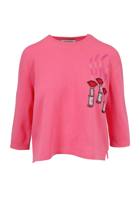 Valentino Pink Wool & Cashmere Lipstick Embroidered Sweater