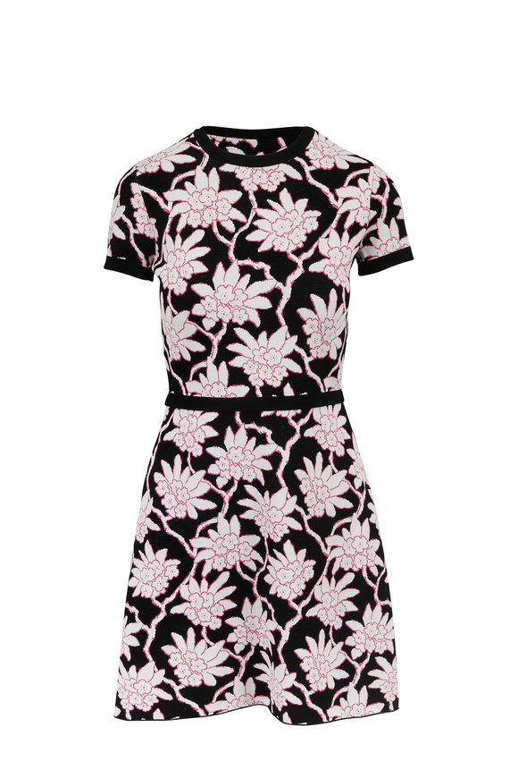 Valentino Black & Pink Floral Jacquard Short Sleeve Dress