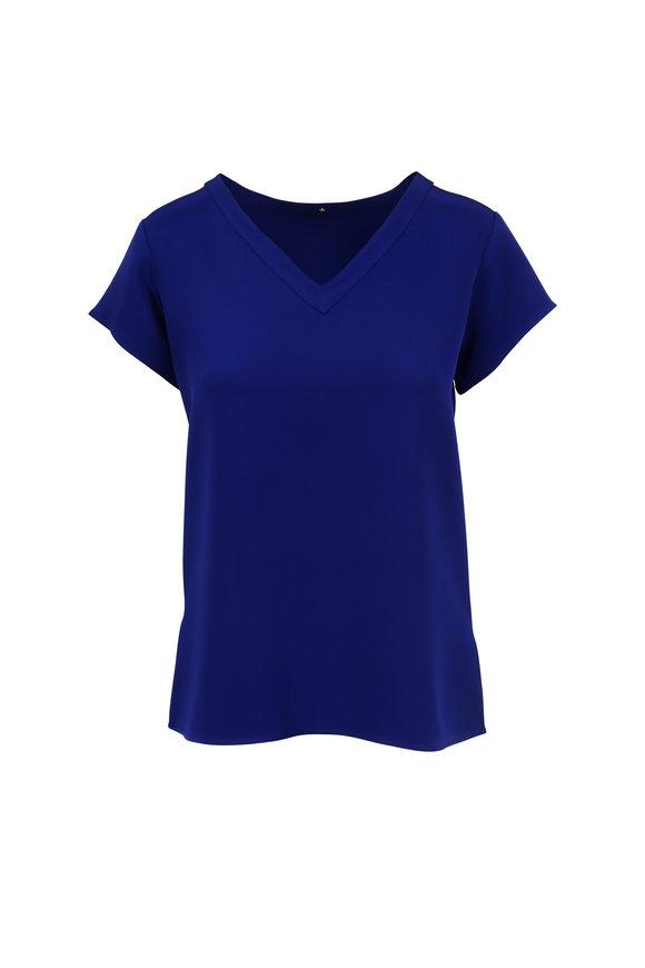 Peter Cohen Sapphire Blue Silk V-Neck Blouse