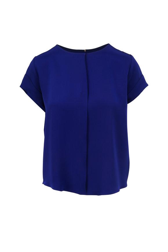 Peter Cohen Sapphire Blue Short Sleeve Silk Blouse