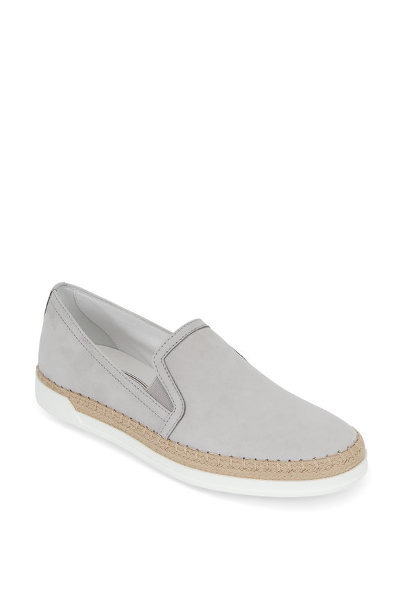 Tod's Gomma Light Gray Suede Espadrille Sneaker