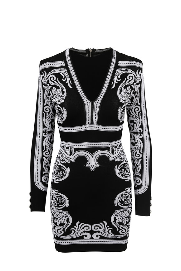 Balmain Black & White Baroque Knit Long Sleeve Dress