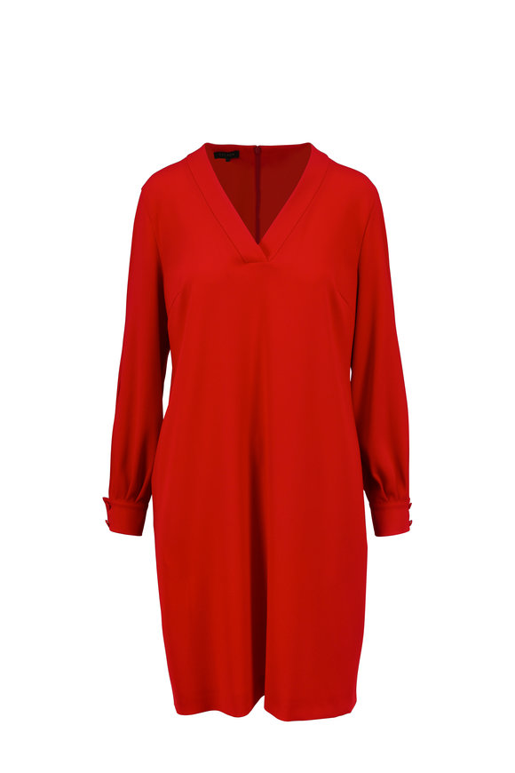Escada Diviria Cherry Red Split Sleeve V-Neck Dress