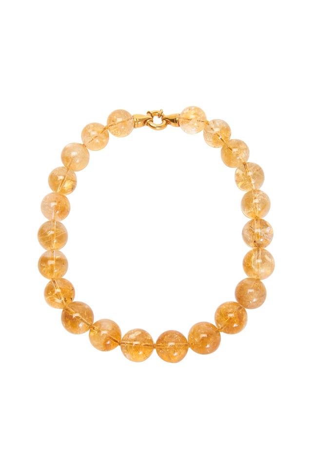 Gold Citrine Topaz Bead Necklace