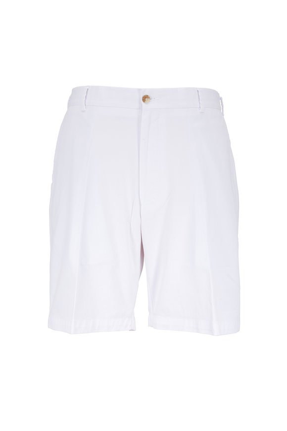 Peter Millar White Soft Stretch Twill Shorts