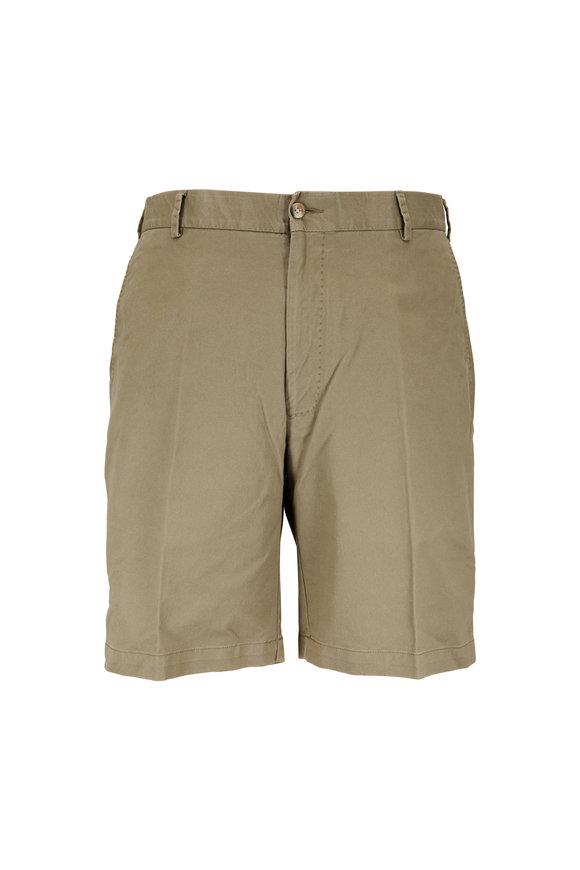 Peter Millar Olive Green Soft Stretch Twill Shorts
