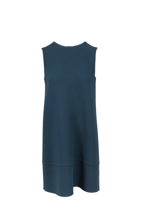 Olivine Gabbro Grace Solid Teal Wool Sleeveless Dress