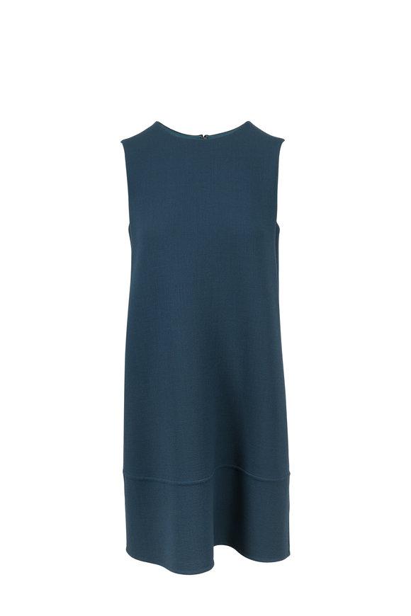 Olivine Gabbro Grace Solid Teal Wool Sleeveless Dress