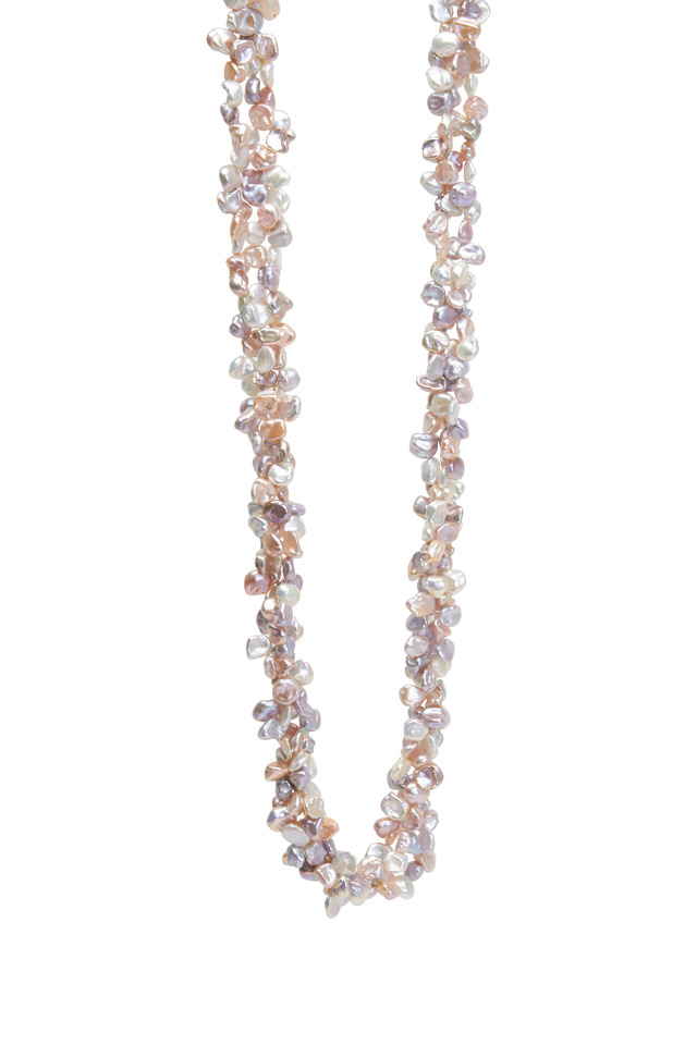 Pink & Gray Pearls Triple Strand Necklace