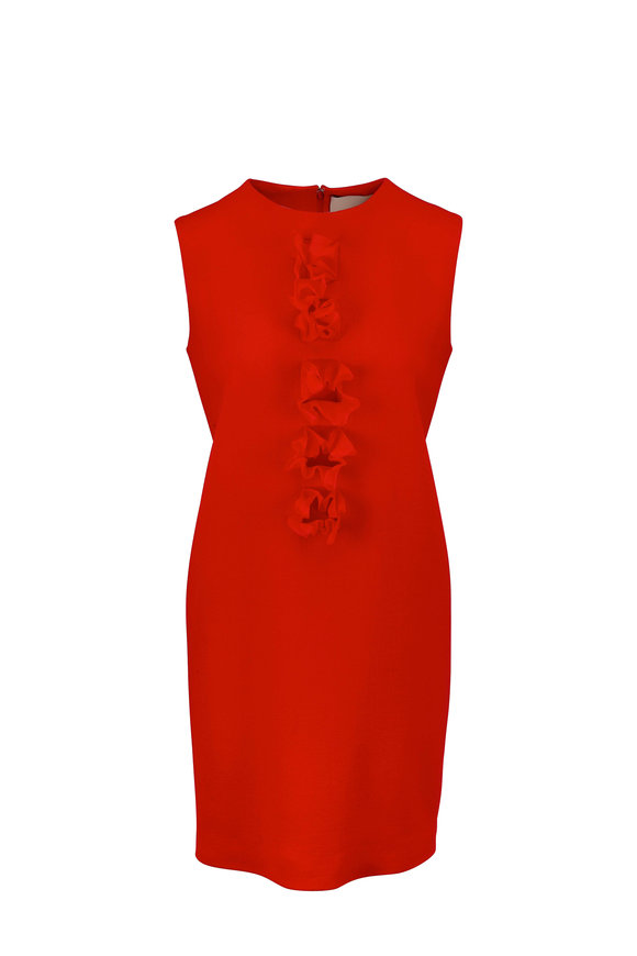 Olivine Gabbro Red Chiffon Detail Sleeveless Wool Dress