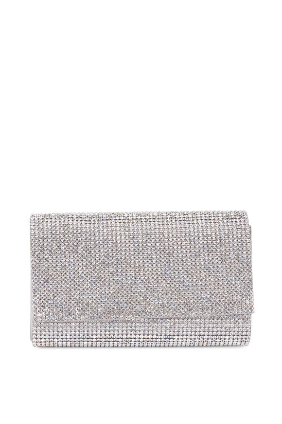 Judith Leiber Couture Fizzy Silver Full Bead Clutch