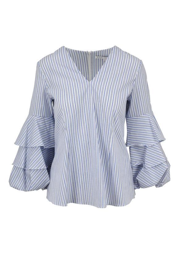 Donna Degnan Blue & White Stripe Layered Bell Sleeve Blouse