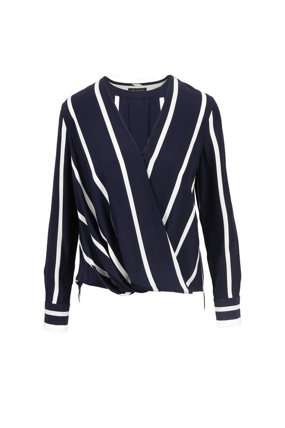 Rag & Bone Navy & White Stripe Silk Blouse