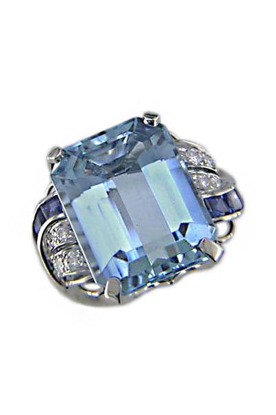 Oscar Heyman - Aquamarine Sapphire Diamond Ring