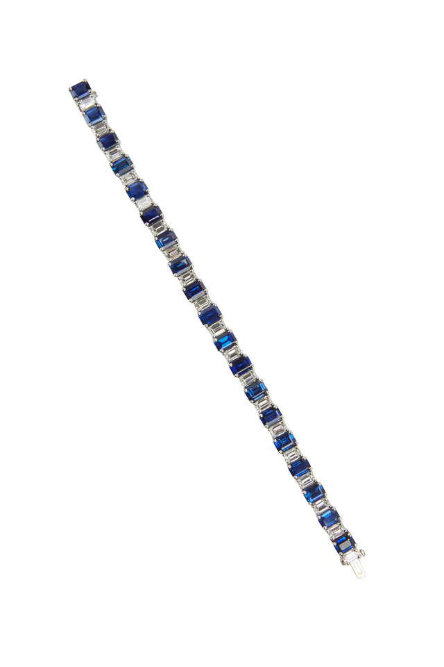 Platinum Blue Sapphire & White Diamond Bracelet