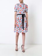 Carolina Herrera - White & Red Poppy Print Short Sleeve Shirtdress