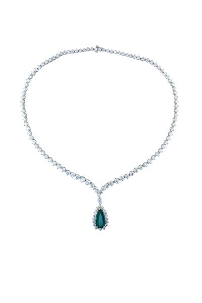Oscar Heyman - Platinum Green Emerald White Diamond Necklace
