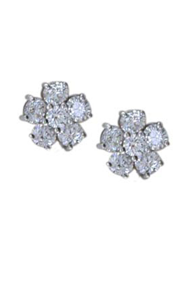 Platinum White Diamond Flower Stud Earrings
