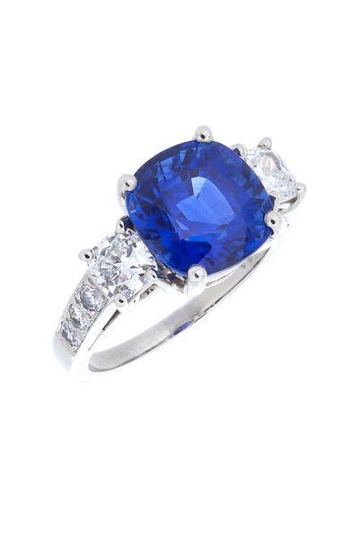 Oscar Heyman - Platinum Ceylon Sapphire Diamond Ring