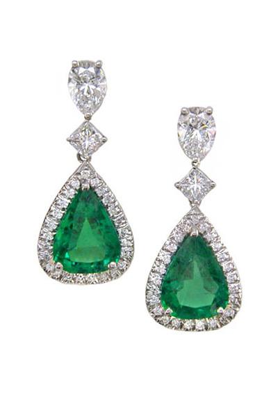 Oscar Heyman - Platinum Emerald Diamond Earrings