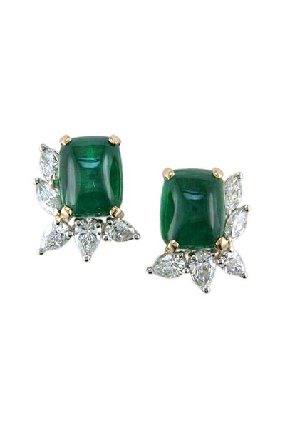Oscar Heyman - Emerald Diamond Earrings