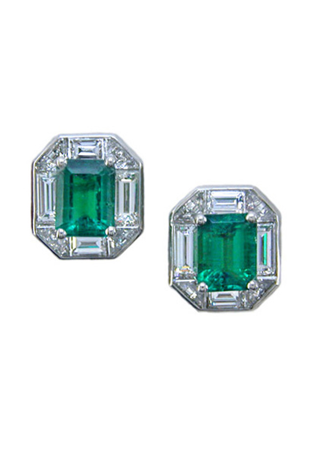 Platinum Emerald Diamond Stud Earrings