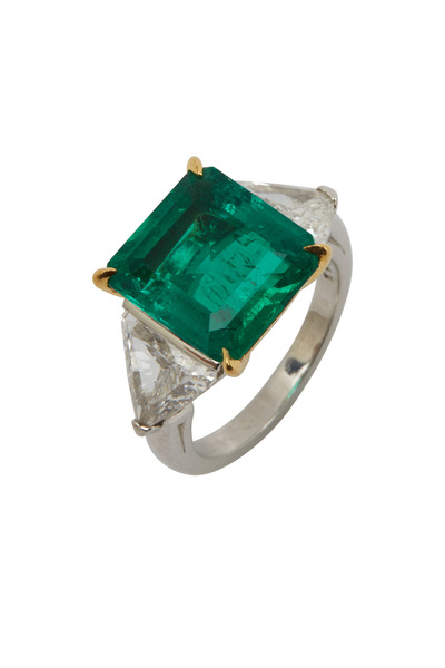 Oscar Heyman - Gold Platinum Emerald Diamond Ring