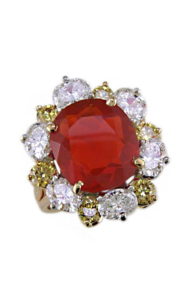 Fire Opal Diamond Ring