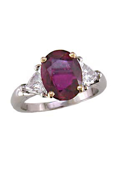 Oscar Heyman - Gold Platinum Ruby Diamond Ring
