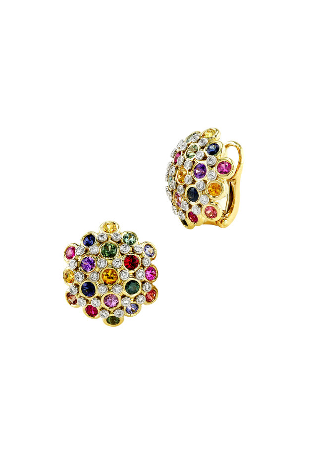 Gold Multicolor Sapphire Diamond Dome Earrings