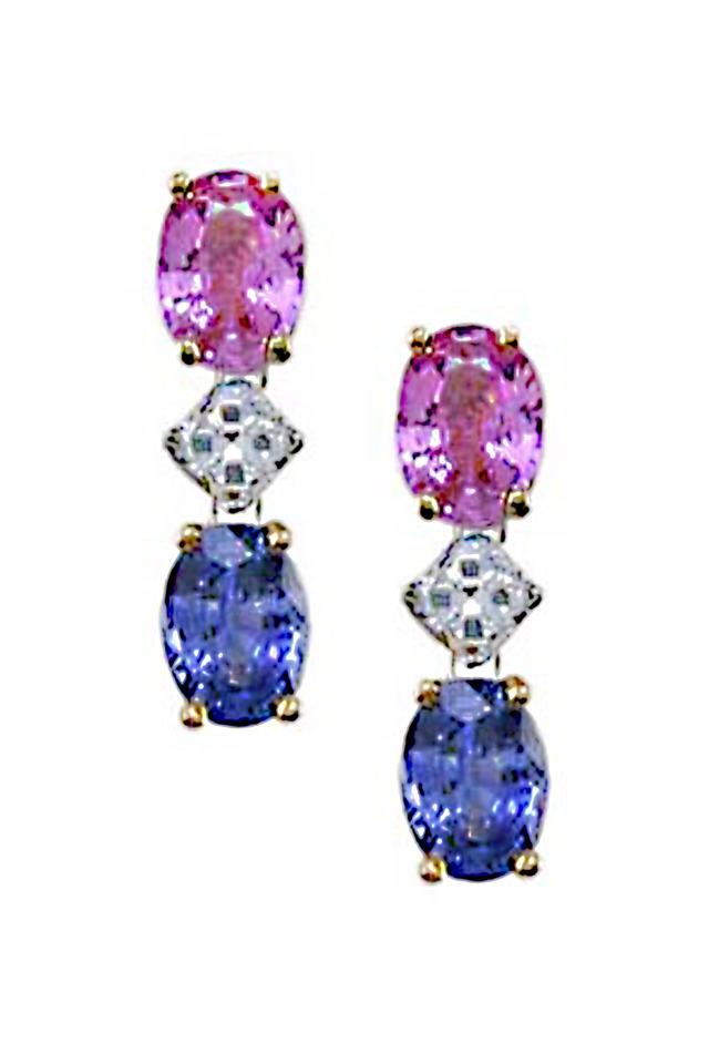Platinum Sapphire Diamond Dangle Earrings