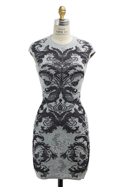 Alexander McQueen - Black & White Spine Lace Sheath