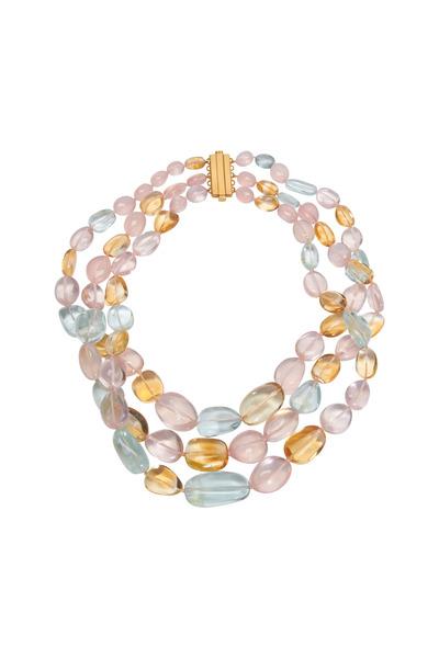 Frank Ancona - Multi Gemstone Triple Strand Choker Necklace