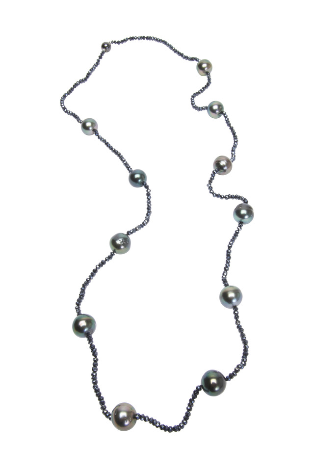 Tahitian Pearl & Spinel Beads Necklace