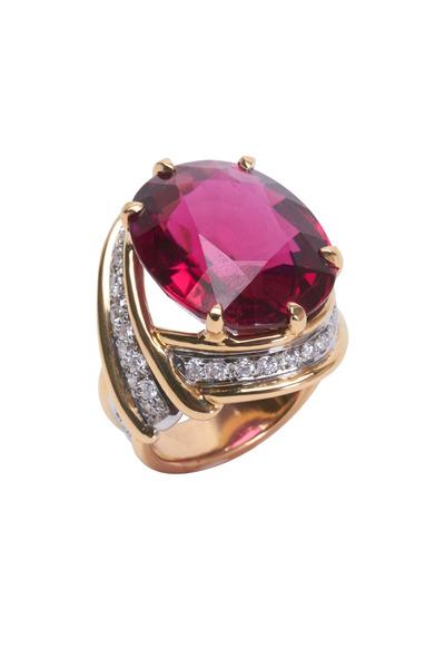 Frank Ancona - Yellow Gold Rubelite & Pavé Diamond Ring