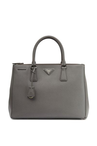 Prada - Gray Saffiano Leather Medium Tote