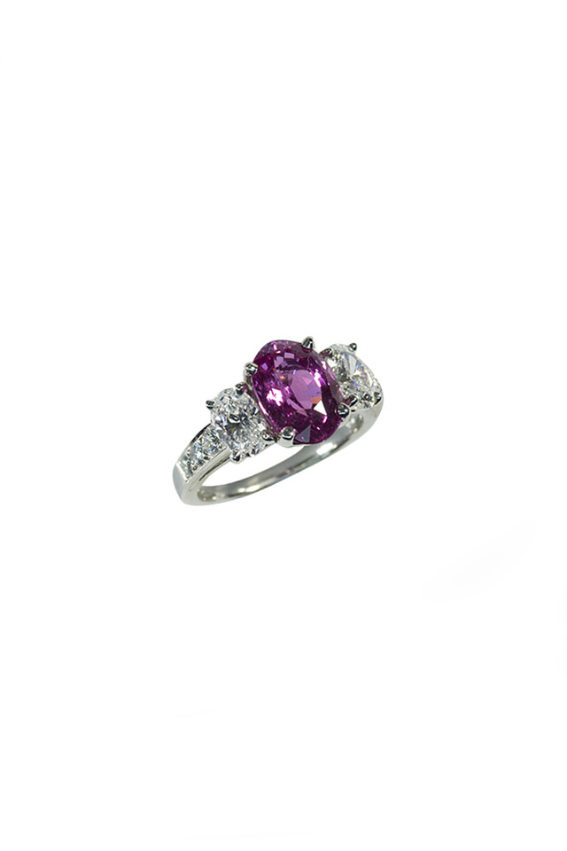 Platinum Pink Sapphire Diamond Ring