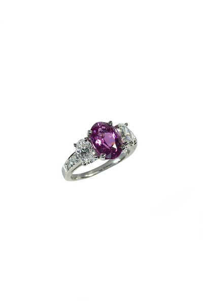 Oscar Heyman - Platinum Pink Sapphire Diamond Ring