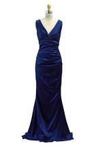 Talbot Runhof - Navy Blue Crepe Stretch Gown