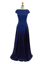 Talbot Runhof - Navy Blue Multicolor Crepe Gown