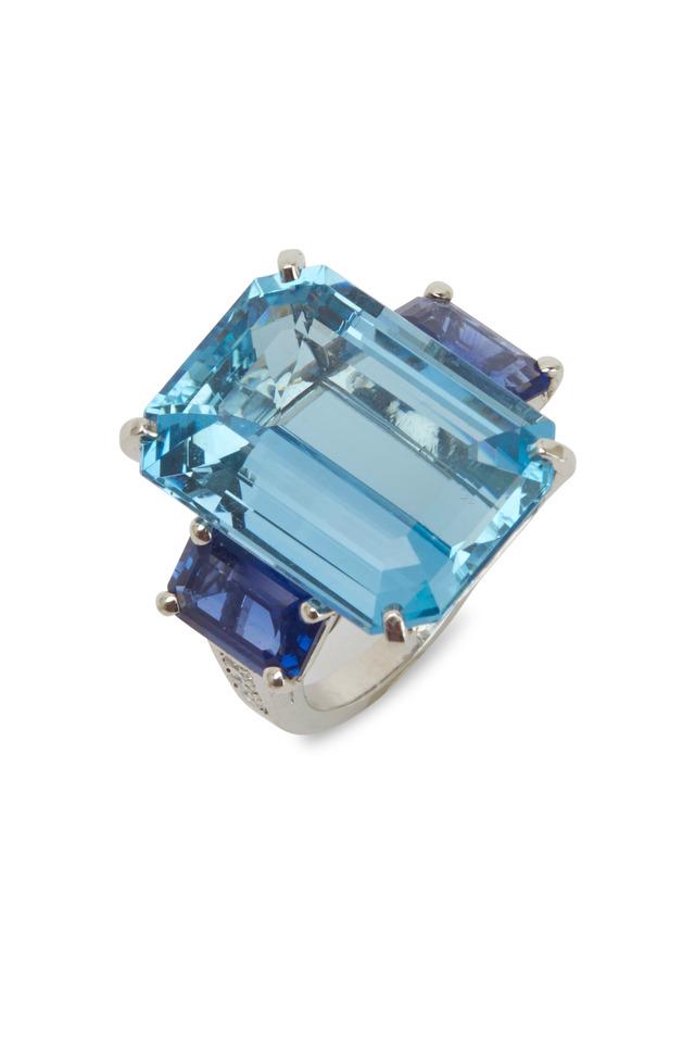 Platinum Diamond Aquamarine Sapphire Ring