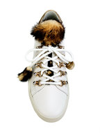 Tod's - White Leather Mink Trim Sneaker